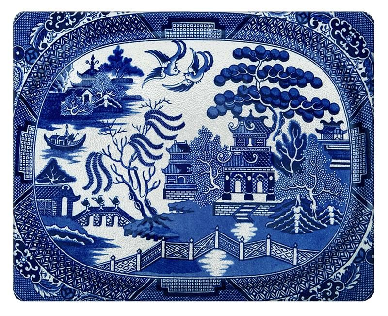 Blue Willow Glass Cutting Board, Available in Two Different Sizes