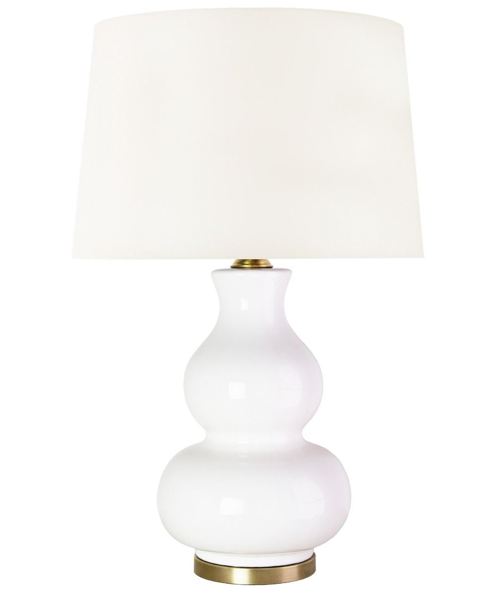 White Gourd Table Lamp with Brass Base