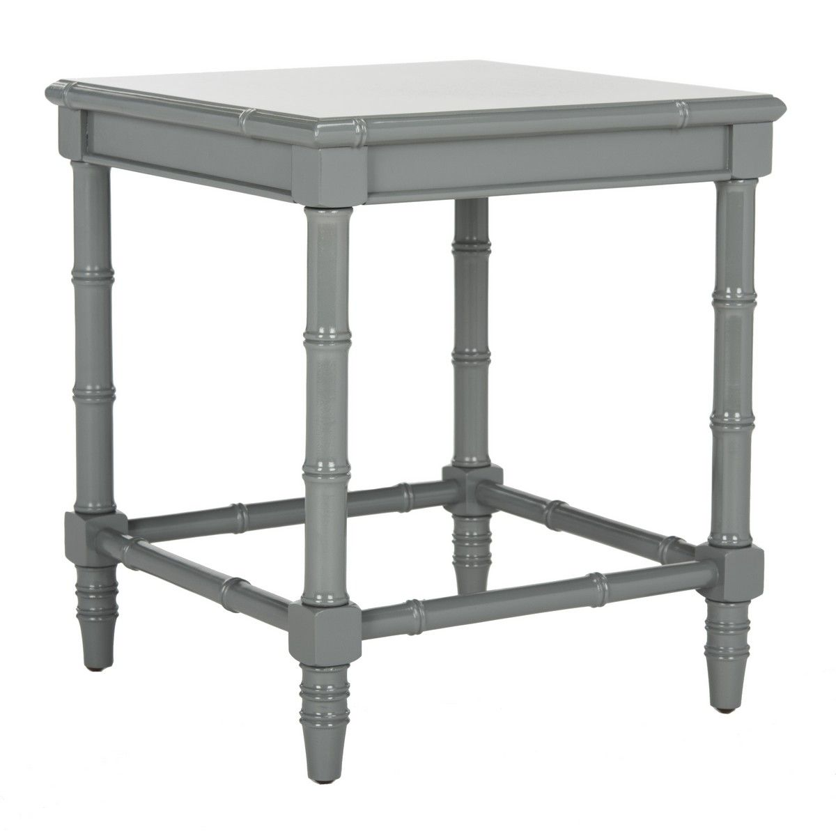 Glossy Grey Lacquered Bamboo Side Table - ON BACKORDER UNTIL MARCH 2021