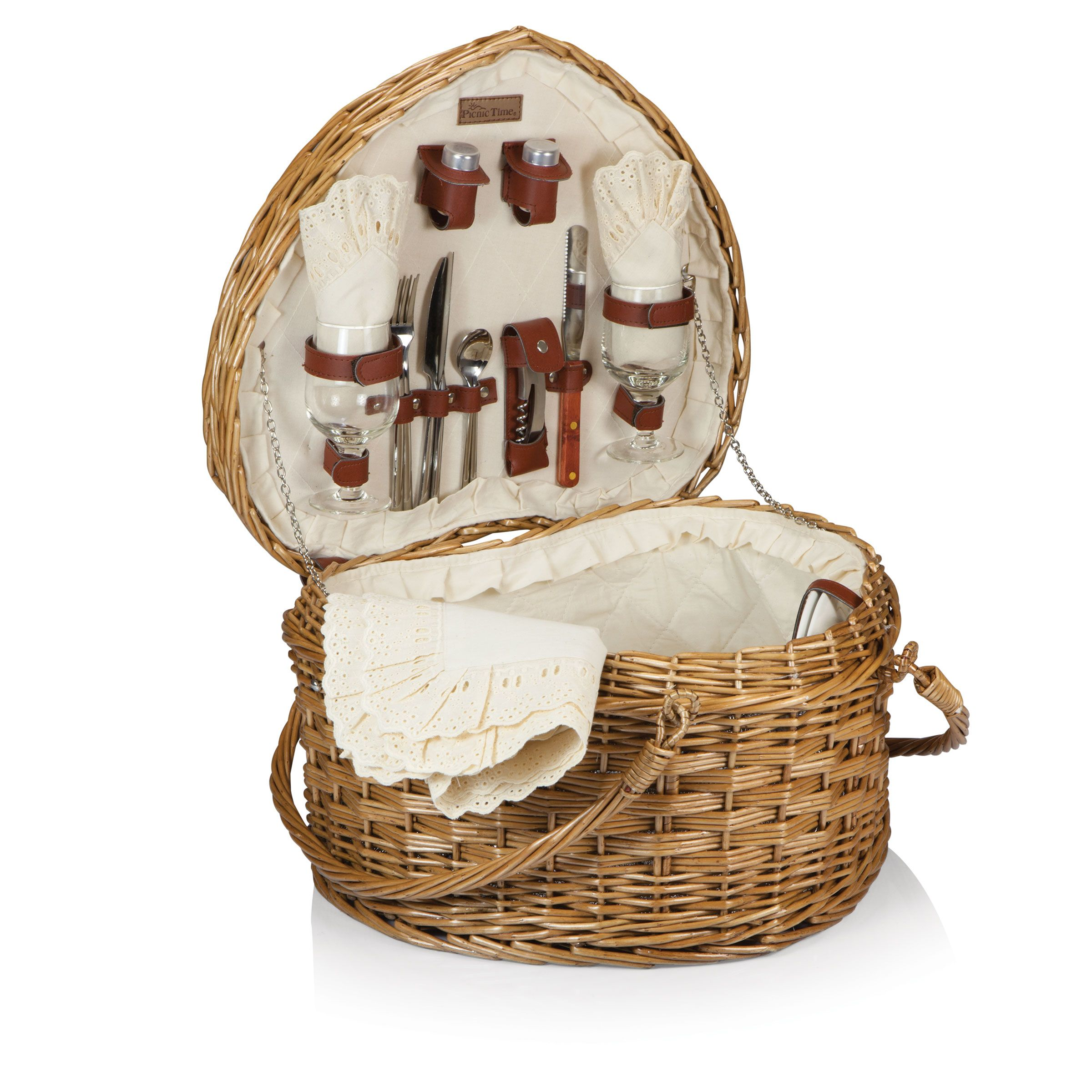 Heart Picnic Basket with Antique White Lining