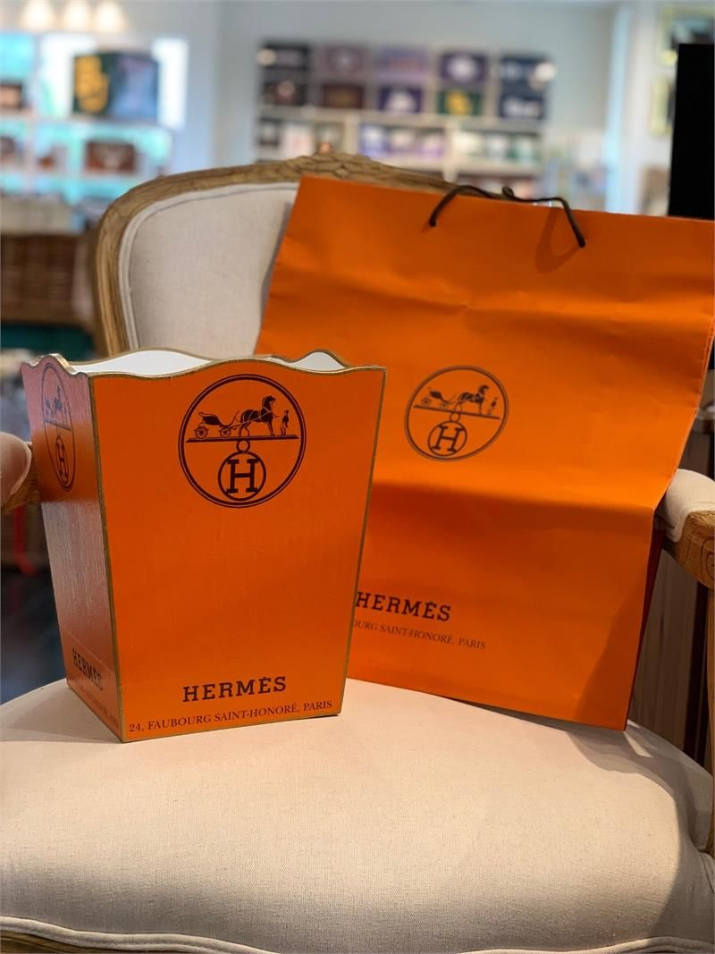 Hermes Inspired Decoupage Wastebasket