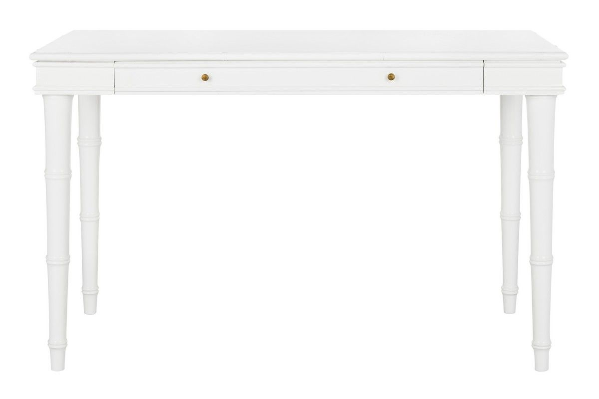 Modern Bamboo Writing Desk in White Lacquer