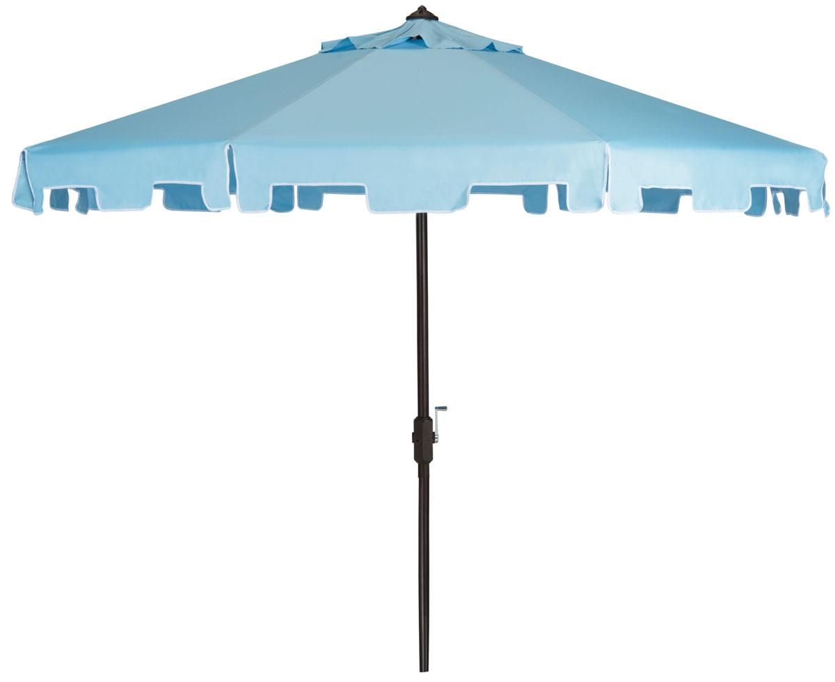 Light Blue and White 9 Foot Market Crank Outdoor Patio Umbrella