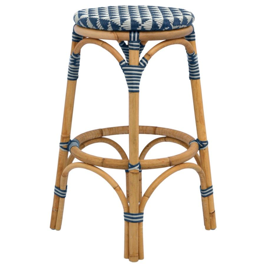 Selamat Designs Pinnacles Counter Stool in White and Navy