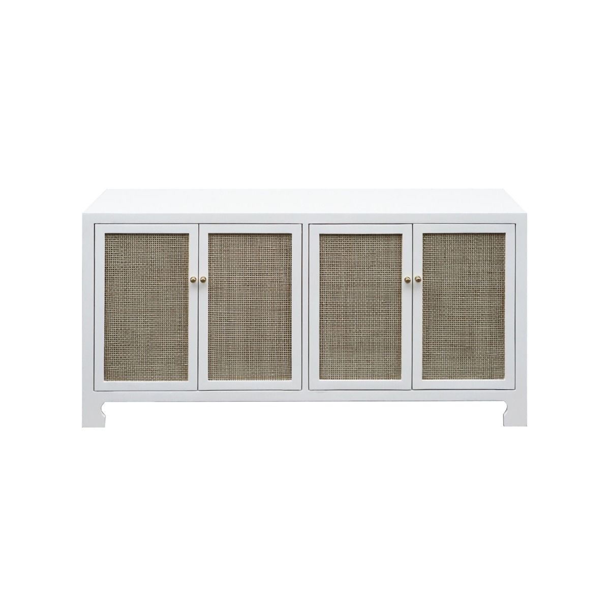 Worlds Away Sofia White Four Door Cane Cabinet