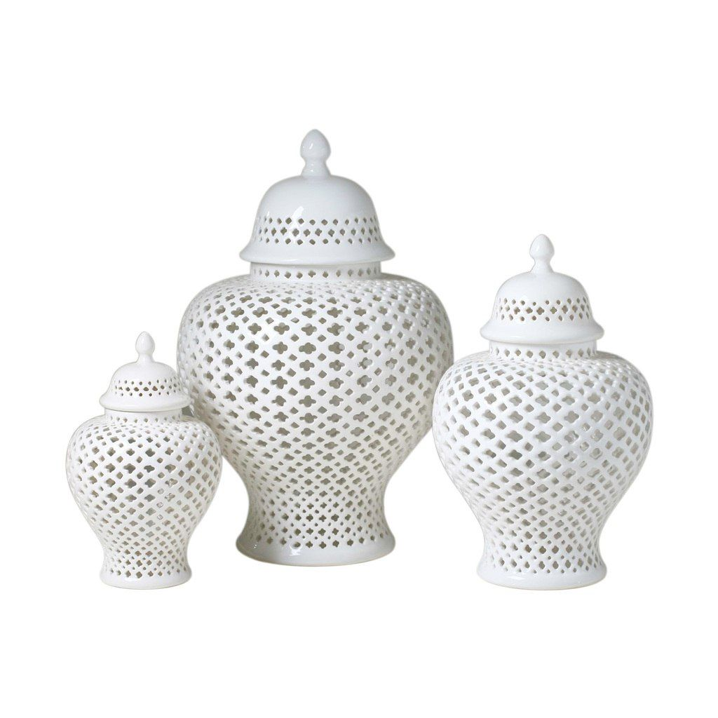 White Lattice Porcelain Lidded Ginger Jar – Available in 3 Sizes