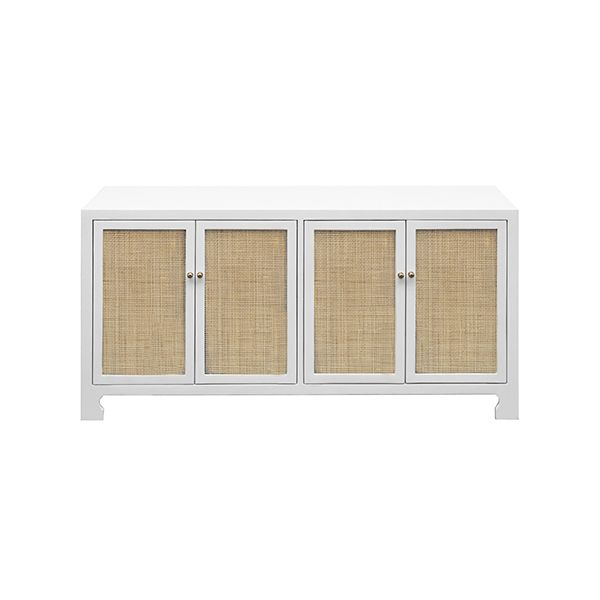 Worlds Away Sofia White Four Door Cane Cabinet - ON BACKORDER UNTIL AUGUST 2021