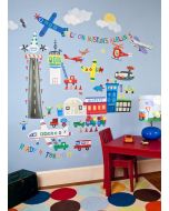 Colorful Airport Theme Decal Cut-Out Wall Art for Kids