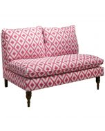 Armless Love Seat in Ikat Fret Raspberry - OUT OF STOCK