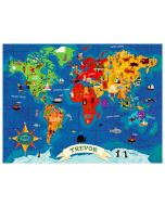 World Map Colorful Personalized Canvas Wall Art for Kids