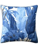 Blue Palm Leaf Design Decorative Square Pillow – Available in Two Sizes