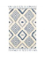 Jordan Blue and Cream Tribal Diamond Wool Rug - Available in a Variety of Sizes