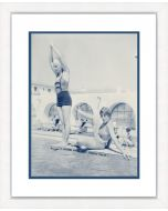 Blue and Sepia Beach Beauties IV Framed Wall Art-Available in a Variety of Sizes