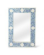 Blue and White Bone Inlay Mosaic Rectangular Wall Mirror with Floral Pattern