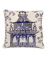 Blue and White Pagoda Chinoiserie Needlepoint Pillow - OUT OF STOCK