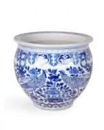 Blue and White Porcelain Bird and Flower Fish Bowl Planter