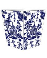 Blue Chinoiserie Pagoda Decoupage Wastebasket and Optional Tissue Box Cover