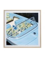 Retro Blue Motor Boat Wall Art in Maple or White Wood Frame - Available in 2 Sizes
