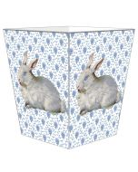 Blue Provincial Print with Bunny Decoupage Wastebasket and Optional Tissue Box Cover