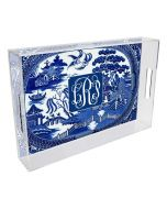 Blue Willow Lucite Tray, Available in Two Different Sizes, Can be Personalized