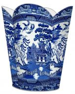 Blue Willow Decoupage Wastebasket and Optional Tissue Box Cover