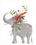 Free Spirit Elephant With Floral Crown Canvas Wall Art for Kids