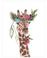Free Spirit Giraffe With Floral Crown Canvas Wall Art for Kids