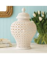 Set of Two Carthage Large Pierced White Porcelain Covered Lantern - ON BACKORDER UNTIL LATE JULY 2021