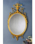 Carvers Guild Crowned Oval Mirror in Antique Gold Leaf Finish