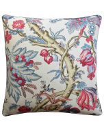 Chatelain Floral Design Square Decorative Pillow in Blue and Red – Available in Two Sizes