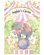 Circus Elephant on Ball Pastel Canvas Wall Art for Kids With Optional Personalization