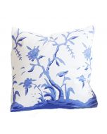 Cliveden Square Chinoiserie Pillow with Bird in Blue