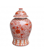 Coral Red Twisted Lotus Porcelain Temple Jar