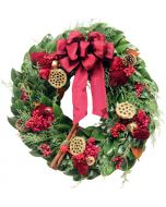 Crimson & Gold Holiday Christmas Wreath- Comes in Four Different Sizes