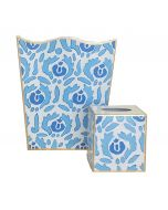 Beaufont in Blue Wastebasket with Optional Tissue Box