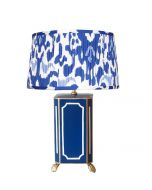 Navy Devon Table Lamp with Pleated Blue Ikat Shade