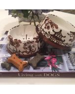 Espresso Brown Chinoiserie Dog Bowl - Can be Personalized