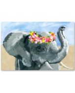 Flower Crown Elephant Giclee Canvas Wall Art in White Frame