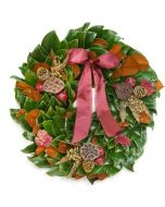 Fresh Hand Made Magnolia Leaves Copper Clippings Luxe Holiday Wreath