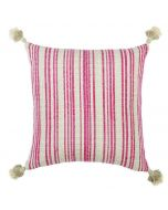 Fuchsia and Beige Striped Pillow with Tassels