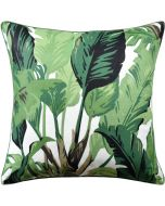 Green Palm Leaf Design Decorative Square Pillow – Available in Three Sizes