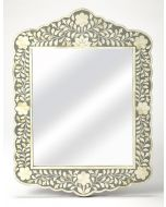Grey and White Bone Inlay Mosaic Wall Mirror with Floral Pattern