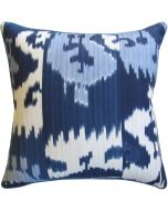 Blue and White Ikat Decorative Feather Down Pillow - Available in Two Sizes