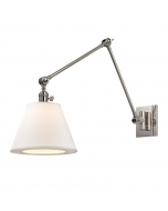 Hudson Valley Lighting Hillsdale One Light Swing Arm Wall Sconce with White Shade  Available in Four Finishes