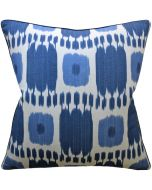 Bocci Ikat Blues Decorative Feather Down Throw Pillow - Available in Two Sizes