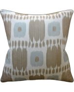 Aqua and Taupe Grey Ikat Decorative Throw Pillow - Available in Two Sizes