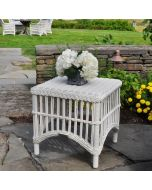Kingsley Bate Chatham Outdoor Wicker Side Table in Classic White