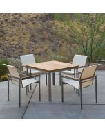 Kingsley Bate Tivoli Outdoor Stainless Steel Square Dining Table - ON BACKORDER UNTIL EARLY MARCH 2022