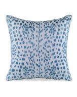 Les Touches Embroidered Speckled Teal Cotton Decorative Pillow