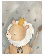 Lion in the Stars Canvas Wall Art for Kids
